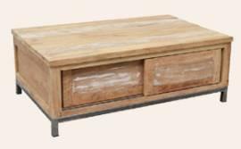 Teak Holz Couchtisch Boston mit Schiebetüren - Bild vergrößern