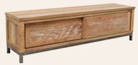 Teak Holz TV Low Board Boston mit 2 Schiebetüren - Bild vergrößern
