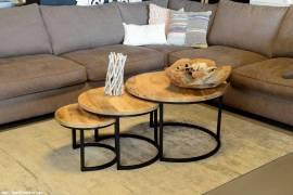 3er Set Couchtische Mangoholz rund Metall Mango Satztische Sofatisch schwarz - Bild vergrößern