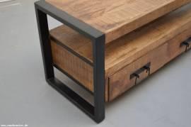 Teak Holz TV Low Board Industrial 102cm - Bild vergrößern