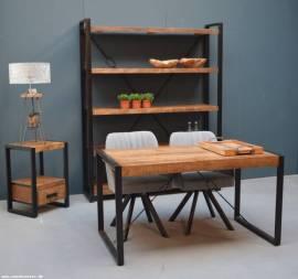Teak Holz Beistelltisch Nachttisch Industrial 55cm - Bild vergrößern