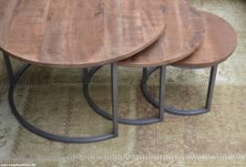 3er Set Mango Holz Couchtische Victor - Bild vergrößern