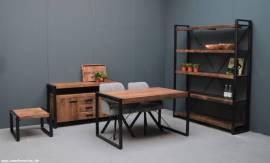 Teak Holz Bücherreagl Industrial 160cm - Bild vergrößern