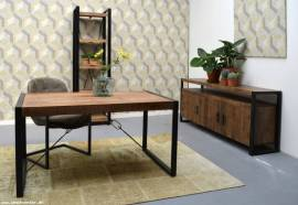 Teak Holz High Board Industrial 180cm - Bild vergrößern