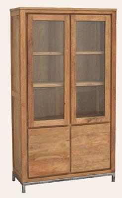 Teak Holz Vitrine Boston mit 2 Türen